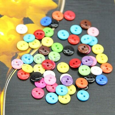 New 100/200pcs 10mm Mixed Color Round Shape Resin Buttons Sewing Accessories Hot