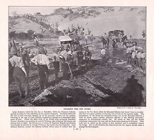 9bc6fb70049fa 1900 ~ BOER WAR PRINT ~ BRITISH TROOPS CROSSING THE VET RIVER PITH ...