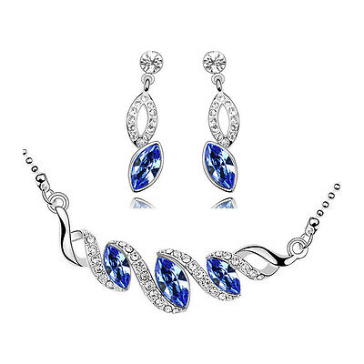 Royal Blue Silver Costume Jewellery Set Earrings Necklace S485
