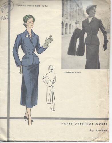 """R369 1953 Vintage Vogue-Schnittmuster B32 /"""" Anzug-Rock /& Jacke von /'Desses/'"""