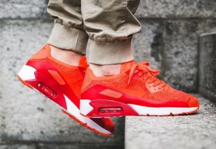 NEW NIKE AIR MAX 90 ULTRA 2.0 FLYKNIT Bright Crimson SHOES 875943 600 SIZE 11.5