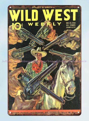 street /& Smith Wild West Weekly magazine cowboy guns metal tin sign decor design