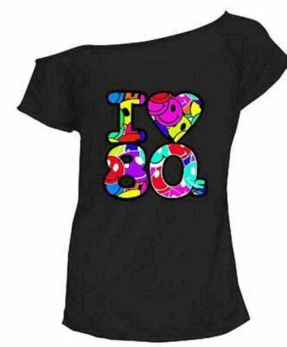 Femme Femmes Multi I Love The 80 S Déguisement Enterrement Vie Jeune Fille Rétro T-shirt top 8-26