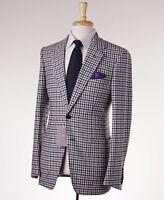 $5700 Tom Ford 'base V' Black-white Check Wool-cashmere Suit Slim 38 R Eu48
