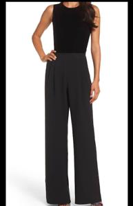 2286b3bfaac Eliza J Black Womens Velvet Wide Leg Crepe Black Jumpsuit Size 16