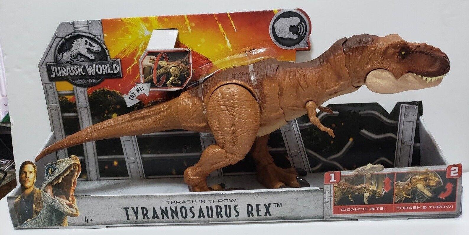 Jurassic welt thrash n werfen t - rex jurrassic welt mattel 2018