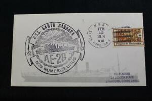 Marine-Abdeckung-1974-Schiff-Stempel-Cachet-Uss-Santa-Barbara-AE-28-5277