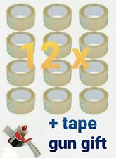 12 Rolls 165 Ft 55 Yards Heavy Duty Carton Sealing Packing Plus Tape Gun Gift