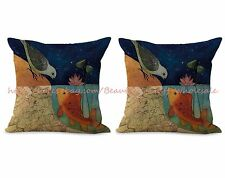 US SELLER- set of 2 bird fish cushion cover decorative pillow covers for sofa