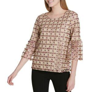 CALVIN-KLEIN-NEW-Women-039-s-Bell-Sleeve-Texture-Embroidered-Blouse-Shirt-Top-TEDO