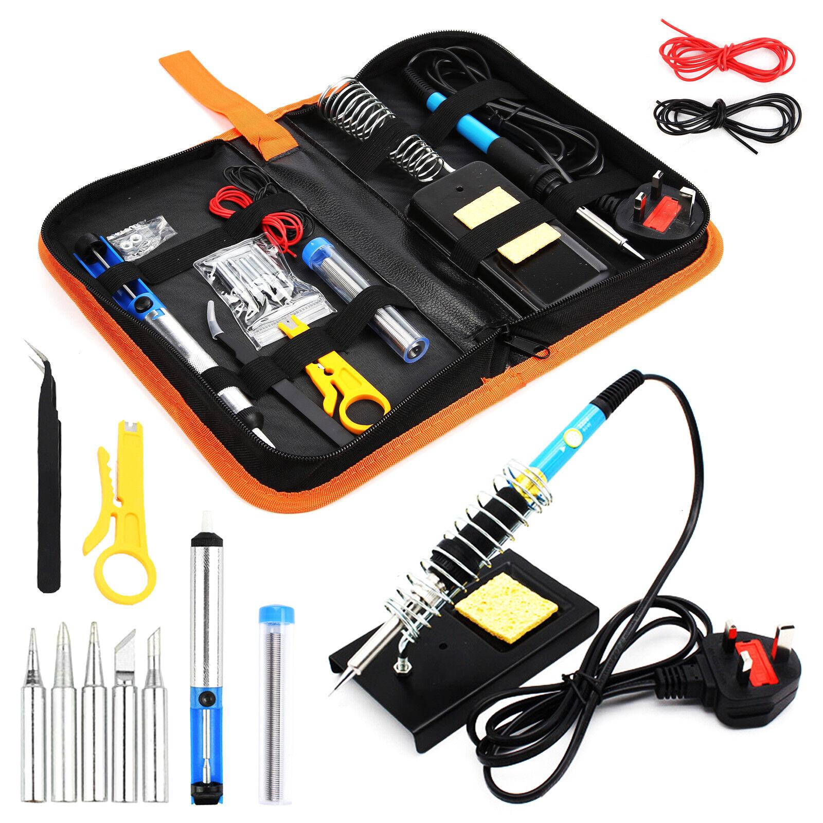 60W Soldering Iron Kit Electronics Welding Irons Solder Tools Adjustable Temp UK