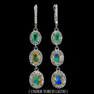 Unheated-Oval-Fire-Opal-8x6mm-Natural-Emerald-Cz-925-Sterling-Silver-Earrings