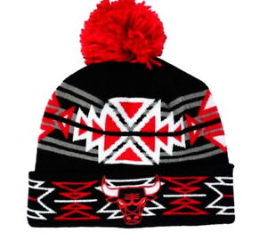 Image is loading CHICAGO-BULLS-KNIT-BEANIE-HAT-GEOTECH-DESIGN-MITCHELL- cf142a7b2