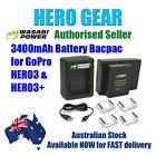 Wasabi 3400mAh Battery bacpac for GoPro HERO3 & HERO3+ +Dual Charger & Backdoors