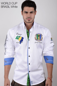 Absolute Rebellion Men's Long Sleeve shirt World Cup Brazil White Embroidery