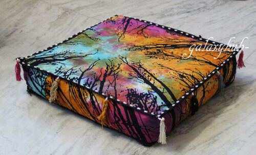 New 18X18X4 Inch Square Multi Locust Tree Tie Dye Box Cushion Pillow Cover Throw