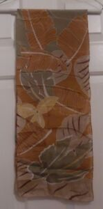 TERRIART-Copper-Graphic-Leaves-SILK-49x10-Lg-Scarf-Vintage-Liz-Claiborne