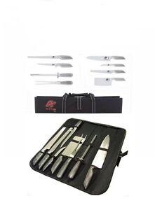 Coltelli/Coltello da cucina professionali in acciaio inox set 9 pz. in custodia.