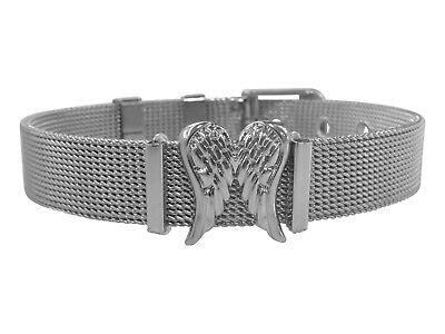Armband Aus Edelstahl Mit Engelsflügeln In Silber. Größenverstellbar!
