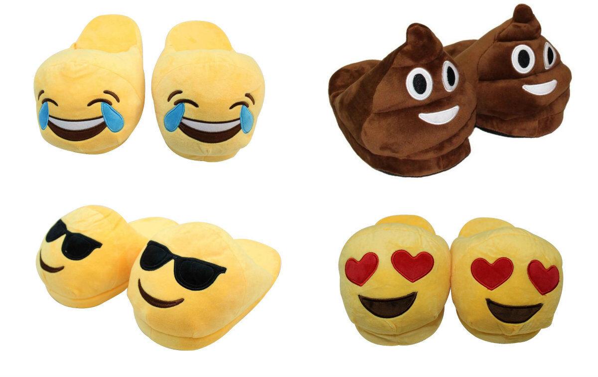 New Ladies Kids Men Plush Emoji Slippers Padded Stuffed Winter Home Indoors Padded Slippers Shoe 1bdff5