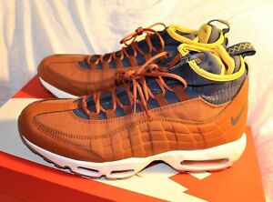 best sneakers b6ae9 3a089 Details about 2018 Nike Air Max 95 SneakerBoot SZ 10 Russet Thunder Blue  Yellow 806809-204