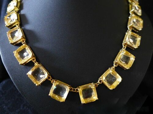 """NEW Cut Glass Elegant Crystal Statement Necklace 14K Gold Plated 22/"""" BARGAIN"""