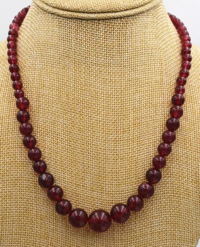 "New Brazil Natural 6-14mm Garnet Round jade Beads Necklace 18/"" AAA"