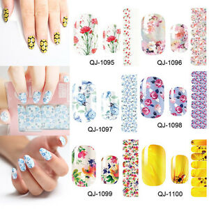 3X-Nail-Art-Wraps-Self-Adhesive-Stickers-Floral-Flowers-Decals-Manicure-Sticker