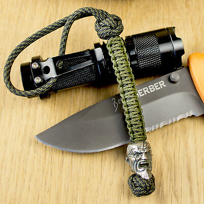 """Cool 7/"""" Paracord Lanyard with KRATOS Nickel Silver Bead EDC Keychain God of War"""