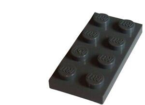 Lego-50-Stueck-Platten-in-dunkelgrau-dark-bluish-gray-2x4-3020-Neu-Platte