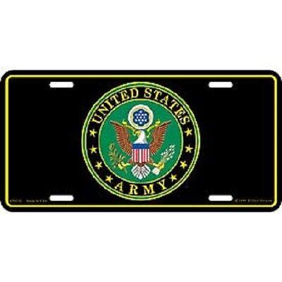 Army Seal Emblem Black Metal License Plate U.S