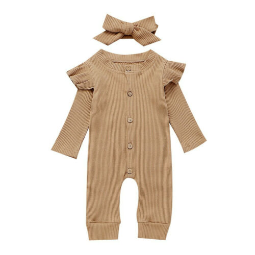 2PCS Newborn Baby Girl Boy Autumn Clothes Set Knitted Romper Jumpsuit Outfits