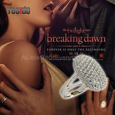 Twilight Saga Bella Style Crystal Encrusted Engagement Ring Wedding  Size 6 - 10