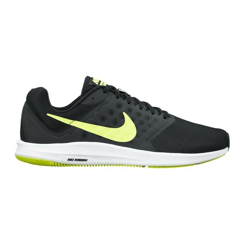 NEW MEN'S NIKE DOWNSHIFTER 7 RUNNING SHOES    IN BLACK WHITE LIME