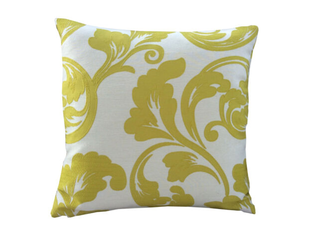 Retro Mustard cream Lime Green leaf Buckingham curtain fabric cushion cover