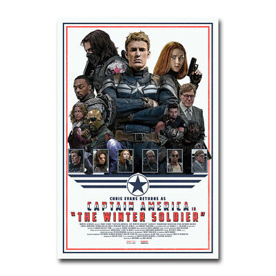 Captain America Hot Movie Art Canvas Poster Print 12x18 24x36 inch