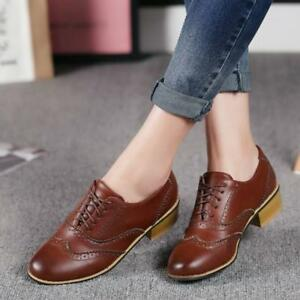 ever popular various design how to buy Details about Retro Women Leather Oxfords Flat Low Heels Brogues Wingtip  Lace Up Dress Shoes