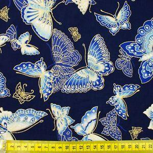 Japanese-oriental-metallic-gold-butterflies-fabric-cotton-fat-quarter-FQ-F0054