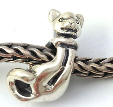 Authentic Trollbeads Sterling Silver Big Cat Bead Charm 11319, New