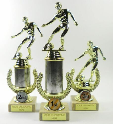 Personalised Pack of 3 Football Gold Tone Trophies