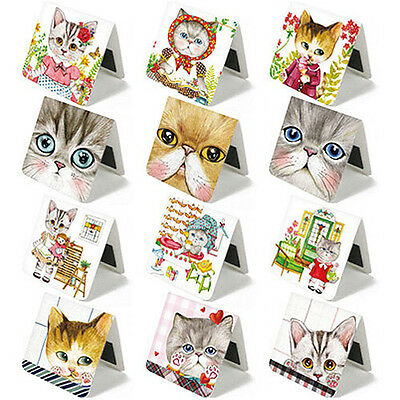 BBIDDAK Cute Magnetic Bookmark Paper Book Mark Bookmarks Stationery / 3PCS