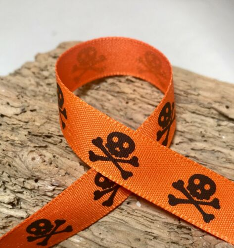 15 mm Pirate-Ruban Crâne /& Crossbones-Noir /& Blanc Ou Orange /& Noir 1 M 3 m