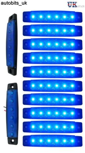 10 pcs blue 24v 6 led side marker indicators lights truck trailer bus