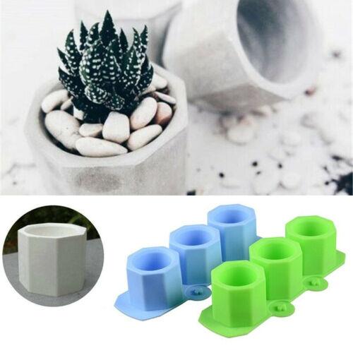 3 Combo Concrete Flower Pot Silicone Candle Mould Polygonal Planter Cement Mold
