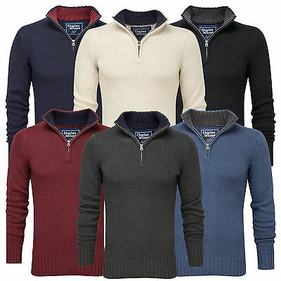 Charles Wilson Men's 100% Cotton Zip Neck Jumper Sweater New 2014
