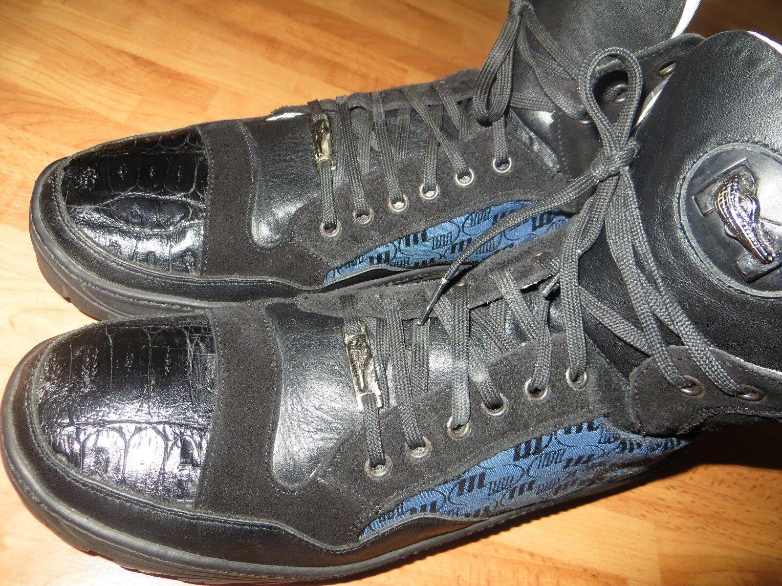 Mauri Made In  Men bluee Black Alligator Crocodile Toe Cap Sneaker Boot 12