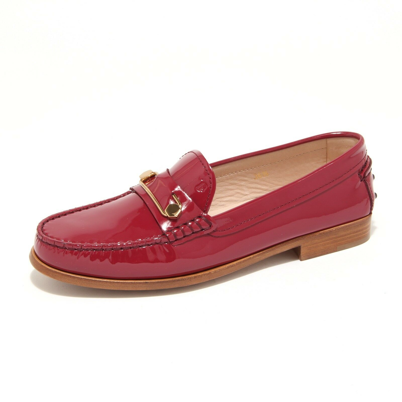 7868L mocassini donna TOD'S cuoio mascherina spilla scarpe loafers shoes women