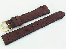 18mm Genuine Real Ostrich Skin Watch Band Strap Brown