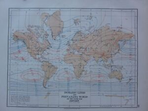 1901 VICTORIAN MAP THE WORLD ISOBARIC LINES & PREVAILING WINDS ...