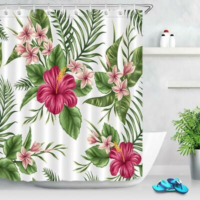 Watercolor Tropical Green Leaves Floral Hibiscus Fabric Shower Curtain Set 180cm